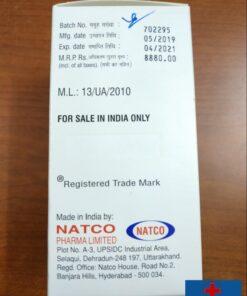 Mặt bên cạnh của hộp thuốc Sorafenat có dòng chữ FOR SALE IN INDIA ONLY